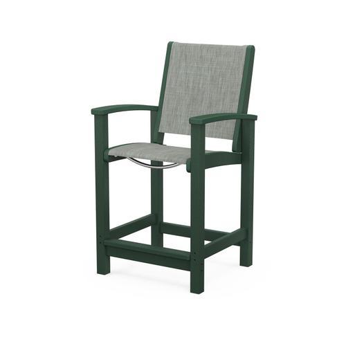 Polywood Furnishings - Coastal Counter Chair in Green / Birch Sling