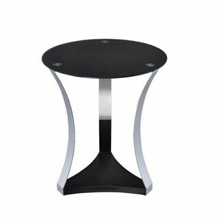 ACME Geiger End Table - 81917 - Chrome & Black Glass