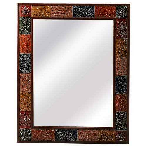 Large rectangular mirrors have always allured womenfolk as traditional vanity mirrors. This ornate and artistic mirror- a perfect choice for your decor as it is framed with bas-relief patterns in different antique colors. Add character and life to the otherwise simple room with the dramatic frame and perfect shape of this mirror. The special paint technique enhances the detailing on the frame. The design is so fluid one can use the mirror anywhere; if your entryway lacks any interest due to neutral, boring walls, this mirror is what you need to brighten it up. Lend a feminine touch to your plain seating area using this mirror as the background.