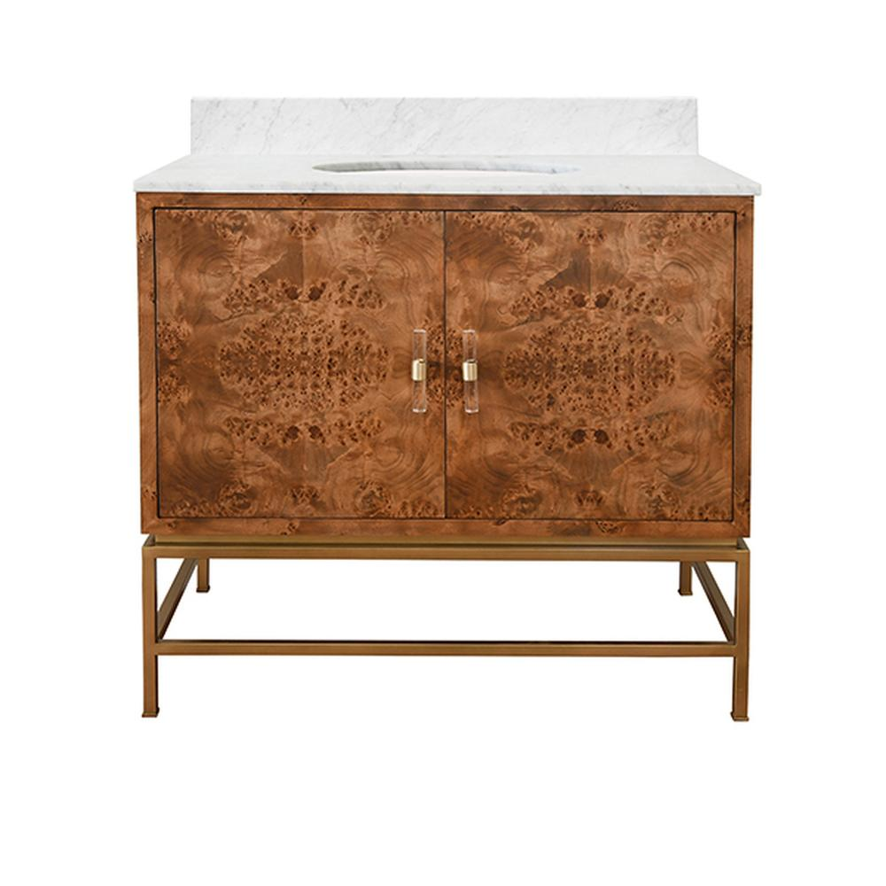 See Details - Amp Up Your Style Power With Our Extraordinary Clifford Bath Vanity. This Mid Century Mod Stunner Features A Matte Dark Burl Wood Cabinet With Lucite & Antique Brass Door Pulls. the Case Floats Atop A Sturdy, Antique Brass Metal Base and Includes Luminous White Carrara Marble Top & Backsplash, Plus A White Porcelain Sink.