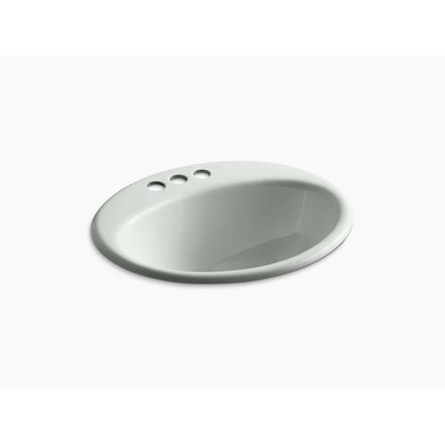 "Sea Salt Drop-in Bathroom Sink With 4"" Centerset Faucet Holes"