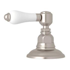 Deck Mount 3-Port 2 Direction Diverter - Satin Nickel with White Porcelain Lever Handle