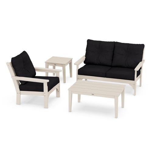 Vineyard 4-Piece Deep Seating Set in Sand / Midnight Linen