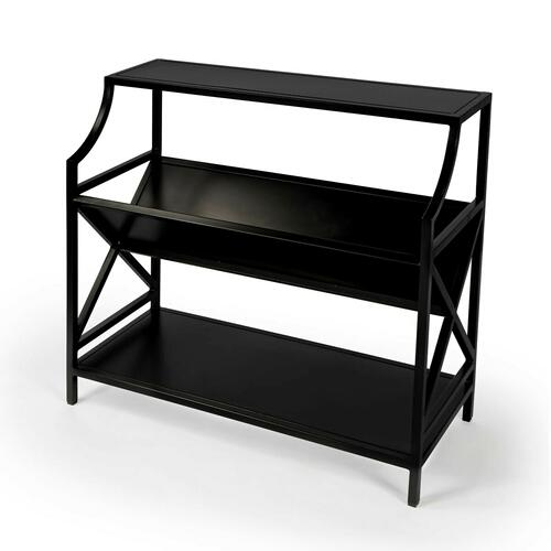 Based on an Old French Librarie book shelf, this modern interpration is sure to delight any book reader. With it's black tone iron styling, this bookcase will surely be a center piece in any office, library, or living room.
