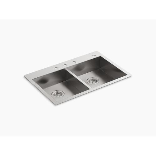 """33"""" X 22"""" X 6-5/16"""" Double-equal Dual-mount Kitchen Sink With 4 Faucet Holes"""