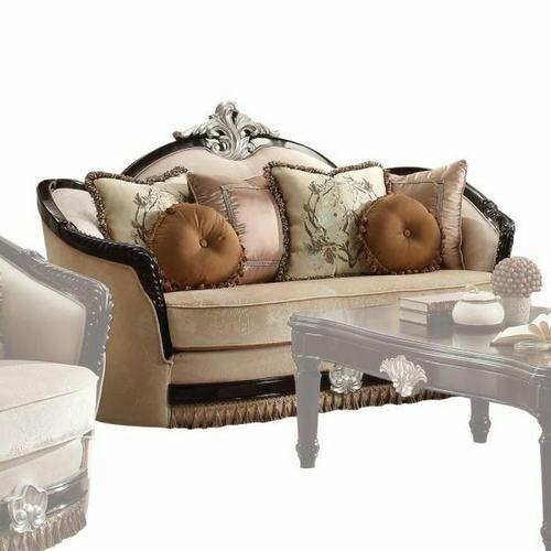 ACME Ernestine Loveseat w/6 Pillows - 52111 - Tan Fabric & Black