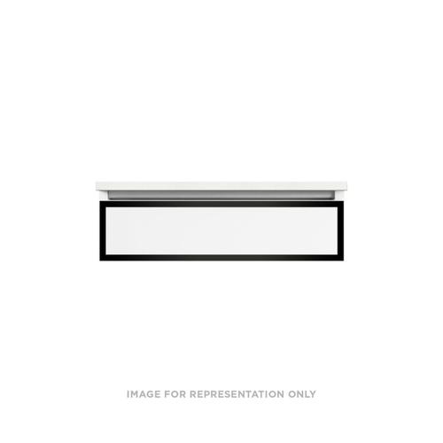 """Profiles 30-1/8"""" X 7-1/2"""" X 21-3/4"""" Modular Vanity In Matte White With Matte Black Finish, False Front Drawer and No Night Light; Vanity Top and Side Kits Not Included"""
