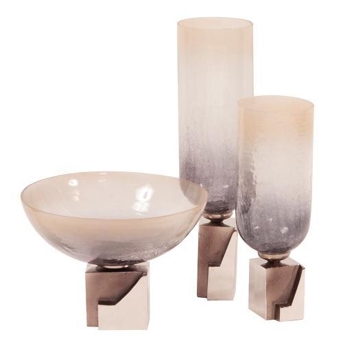 Howard Elliott - Ombre Glass Vase on Square Aluminum Base, Small