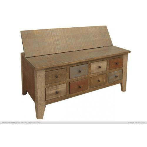 Gallery - Multi Drawer Cocktail Table w/ 8 Drawers & hinged top storage on the other side