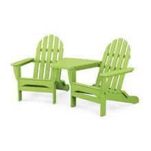 View Product - Classic Folding Adirondacks with Connecting Table in Lime