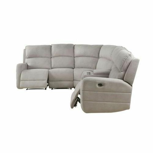 ACME Olwen Sectional Sofa (Power Motion & USB) - 53920 - Cream Nubuck