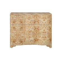 Three Drawer Chest In Burl Wood With Acrylic Hardware
