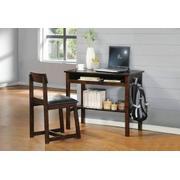 ACME Vester 2Pc Pack Desk & Chair - 92044 - Black PU & Espresso Product Image