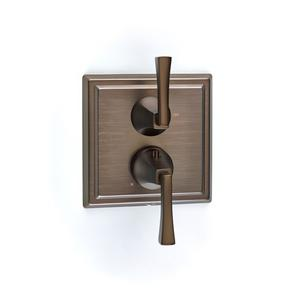 Leyden Dual-control Thermostatic Valve with Volume Control Trim with Lever Handles - Phase out - Bronze