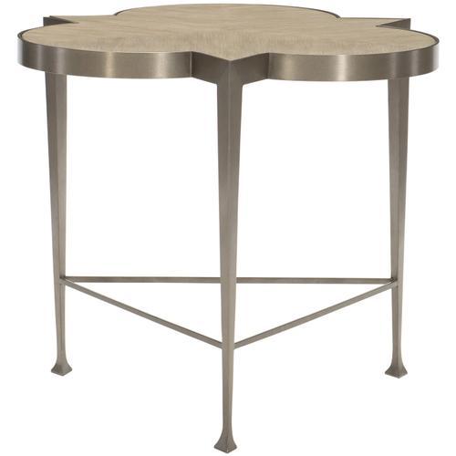Santa Barbara Chairside Table in Sandstone (385), Vintage Nickel Metal (385)