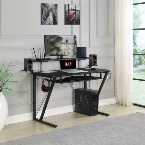 Coaster - Tech Spec Gunmetal Gaming Desk