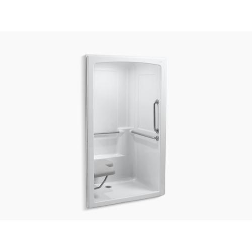"""White 52"""" X 38-1/2"""" X 84"""" Barrier-free Shower Stall With Brushed Stainless Steel Grab Bars and Seat At Left"""