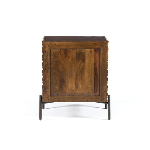 Raffael Nightstand-carved Antique Brown