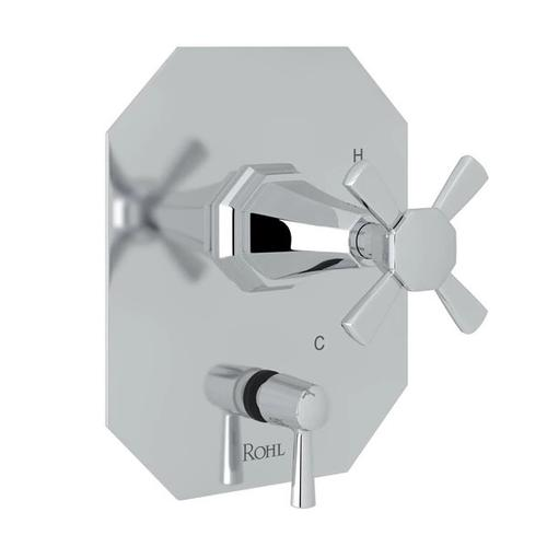 Deco Pressure Balance Trim with Diverter - Polished Chrome with Cross Handle
