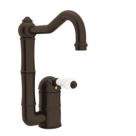 Acqui Single Hole Column Spout Bar and Food Prep Faucet - Tuscan Brass with White Porcelain Lever Handle