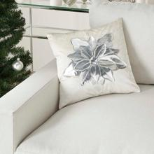 "Holiday Pillows L9966 White/silver 16"" X 16"" Throw Pillow"