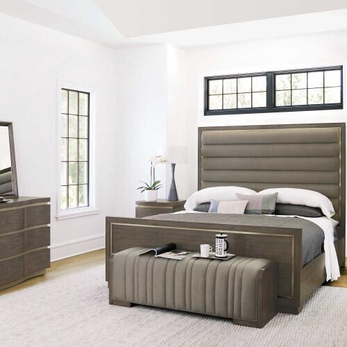 Bernhardt - King-Sized Profile Panel Bed in Warm Taupe (378)