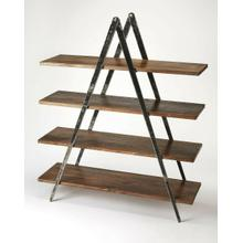 See Details - Display photos, books and other cherished items on this stylish modern etagere. Perfect in the living room as a room divider or in the office, its distressed black iron compass-like legs artfully support four shelves made from solid mango in a creosote br