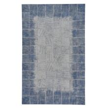 Laramie-Brushed Blocks Sky Flat Woven Rugs
