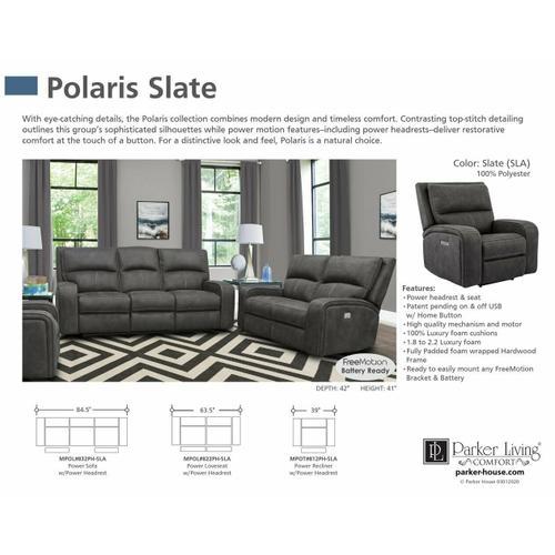 Parker House - POLARIS - SLATE Power Sofa