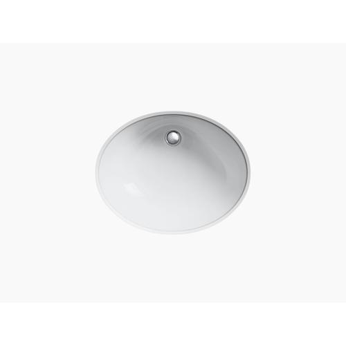 """White 19"""" X 15"""" Undermount Bathroom Sink With Glazed Underside"""