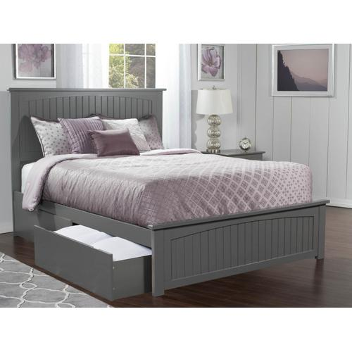 Nantucket Queen Bed with Matching Foot Board with 2 Urban Bed Drawers in Atlantic Grey