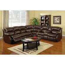 Kaden Bonded Leather Reclining Sectional with Console Loveseat, Brown