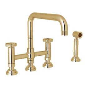 Campo Deck Mount U-Spout 3 Leg Bridge Faucet with Sidespray - Unlacquered Brass with Industrial Metal Wheel Handle