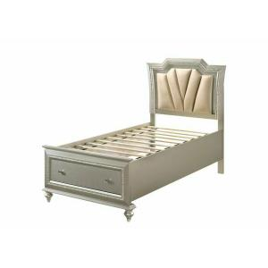 ACME Kaitlyn Twin Bed w/Storage, PU & Champagne - 27240T