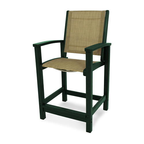 Green & Burlap Coastal Counter Chair