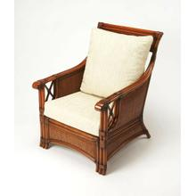 Introduce the ambiance of an island retreat into your living room, bedroom, or den with this cozy club chair. With a rattan pole frame and woven rattan panels on the front, sides and back, it features a rich chestnut finish and matching leather wrapped ac
