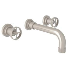 Campo Wall Mount Widespread Bathroom Faucet - Satin Nickel with Industrial Metal Wheel Handle