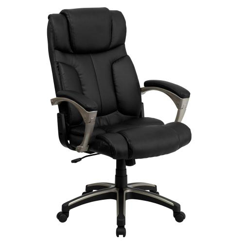 High Back Folding Black Leather Executive Swivel Chair with Arms