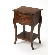 Crafted from Mango wood solids in an Antique Walnut finish; this nightstand is perfect for stowing bedside essentials and flanking your master bed as a pair, this lovely nightstand showcases a single drawer, scalloped apron and lower display shelf.