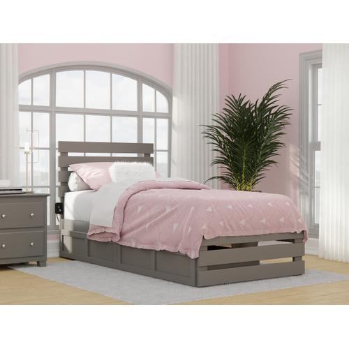 Oxford Twin Extra Long Bed with Footboard and USB Turbo Charger with 2 Extra Long Drawers in Grey
