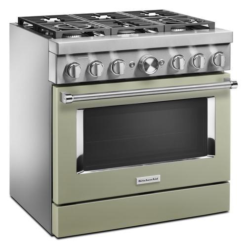 KitchenAid® 36'' Smart Commercial-Style Dual Fuel Range with 6 Burners Avocado Cream