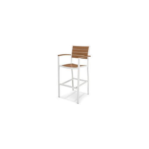 Polywood Furnishings - Eurou2122 Bar Arm Chair in Satin White / Teak