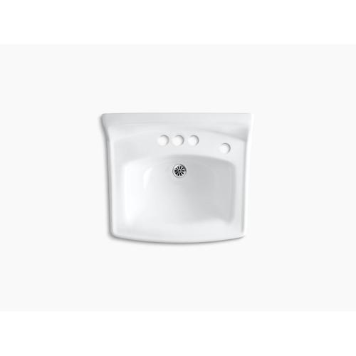 """White 20-3/4"""" X 18-1/4"""" Wall-mount/concealed Arm Carrier Bathroom Sink With 4"""" Centerset Faucet Holes, No Overflow and Right-hand Soap Dispenser Hole"""