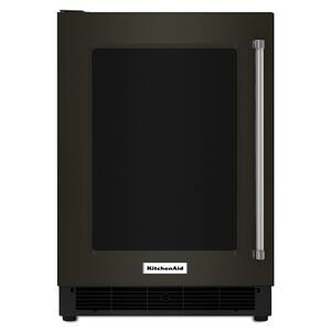 """KitchenAid24"""" Undercounter Refrigerator with Glass Door and Metal Trim Shelves Black Stainless Steel with PrintShield™ Finish"""