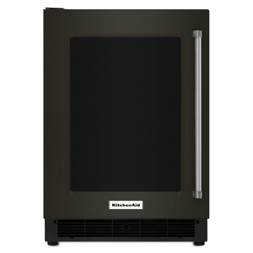 """KitchenAid - 24"""" Undercounter Refrigerator with Glass Door and Metal Trim Shelves Black Stainless Steel with PrintShield™ Finish"""