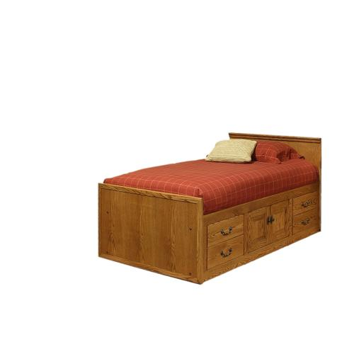 A-T284-T Traditional Oak Twin Chest Bed