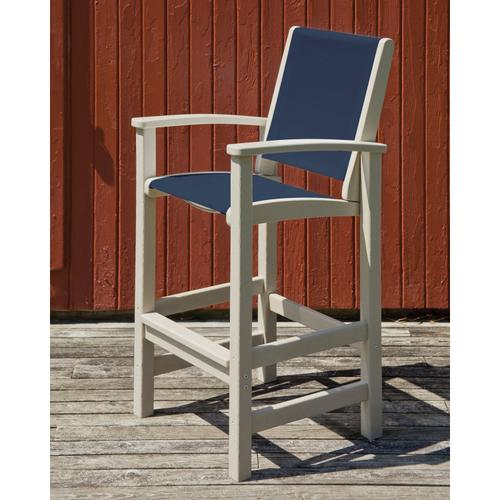 Sand & Royal Blue Coastal Bar Chair