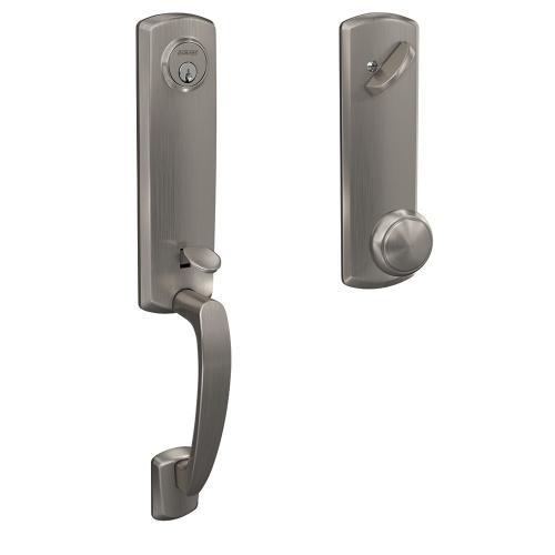 Custom Greenwich 3/4 Trim Single Cylinder Handleset with Andover Knob - Satin Nickel