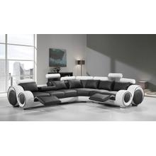 See Details - Divani Casa 4087 - Modern Black + White Bonded Leather Sectional Sofa with Recliners