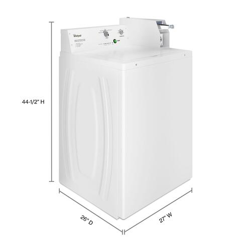 Whirlpool - Commercial Top-Load Washer, Coin Equipped White